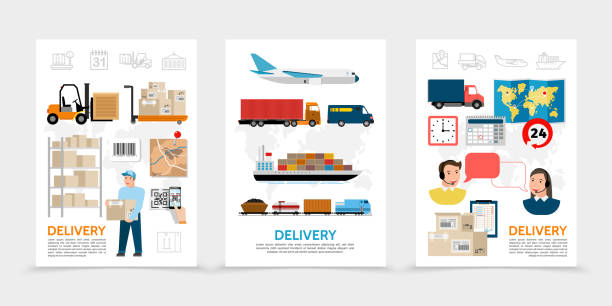 stockillustraties, clipart, cartoons en iconen met platte levering posters - warehouse worker