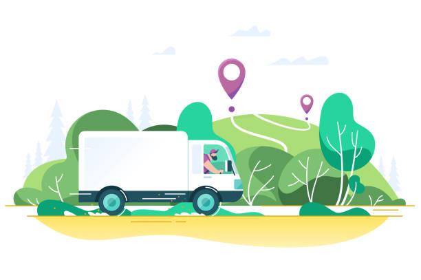 與男子的平送卡車正在點上運送包裹。 - delivery 幅插畫檔、美工圖案、卡通及圖標