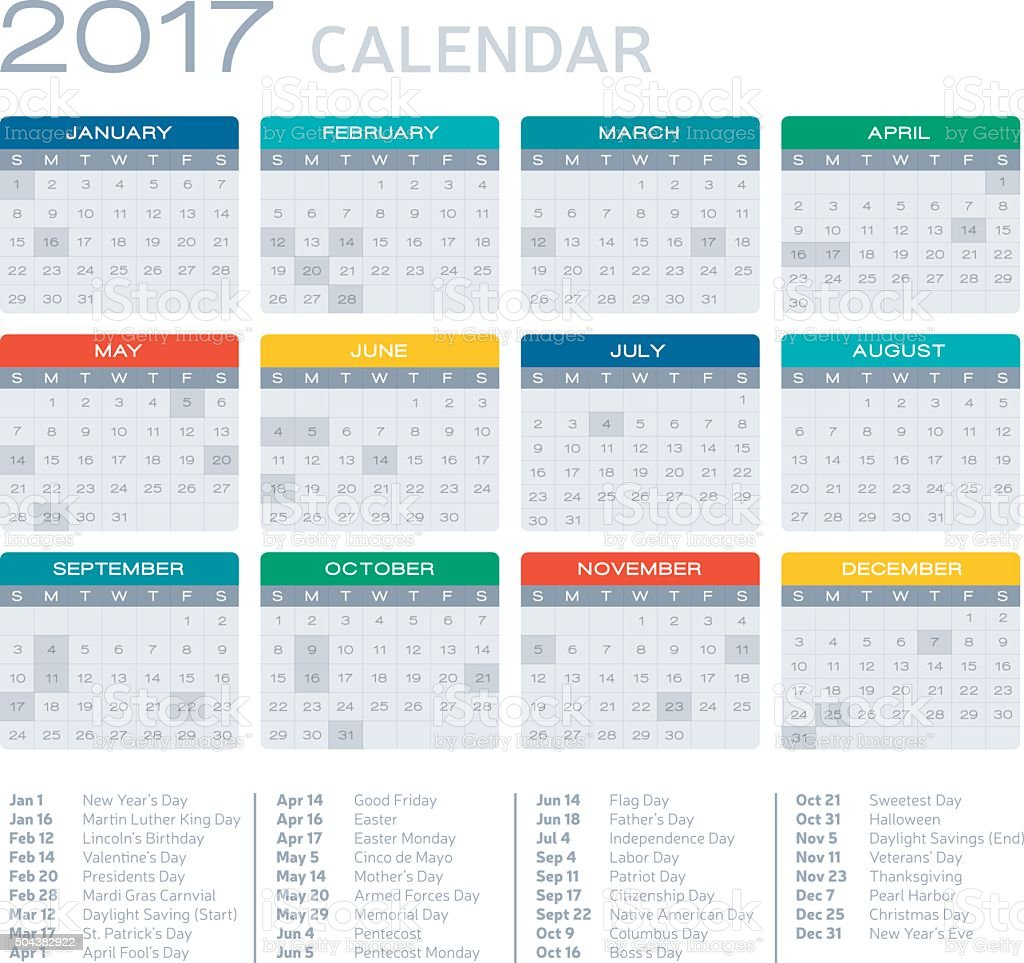 Flat Design 2017 Calendar vector art illustration