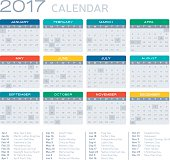 Flat Design 2017 Calendar