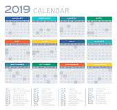 Detailed 2019 calendar with United States holidays.