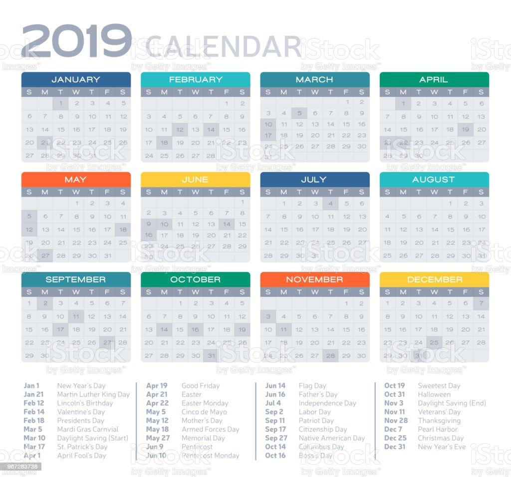 Flat Design 2019 Calendar vector art illustration