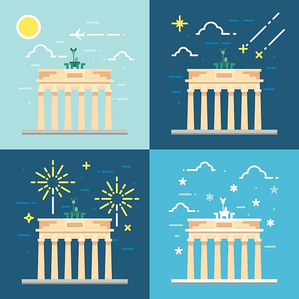 ilustrações de stock, clip art, desenhos animados e ícones de flat design 4 estilos de portão de brandemburgo, em berlim, alemanha - berlin wall