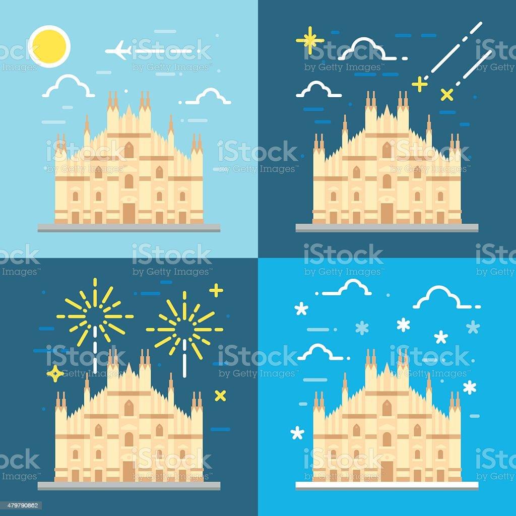 Flat design 4 styles of Duomo di Milano Italy