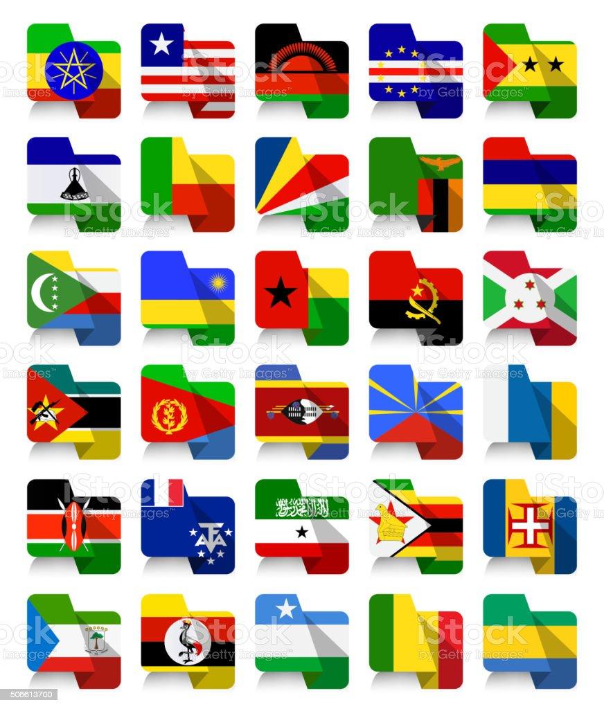 Flat Design African Waving Flags 2 vector art illustration
