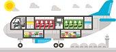 Flat design airplane interior illustration vector