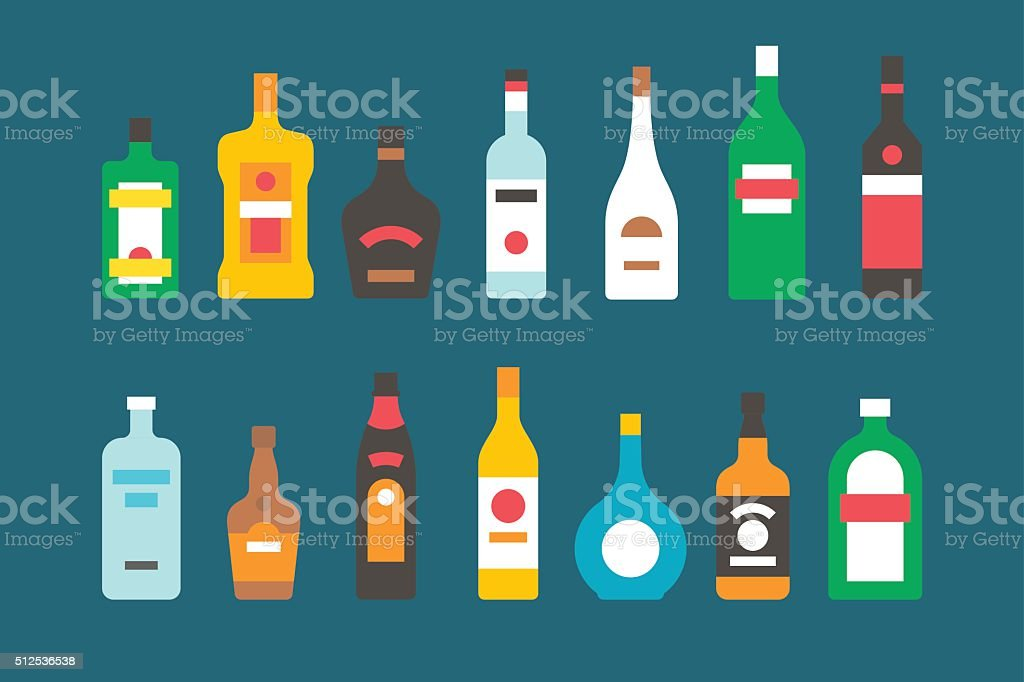 Flat design alcohol bottles collection vector art illustration
