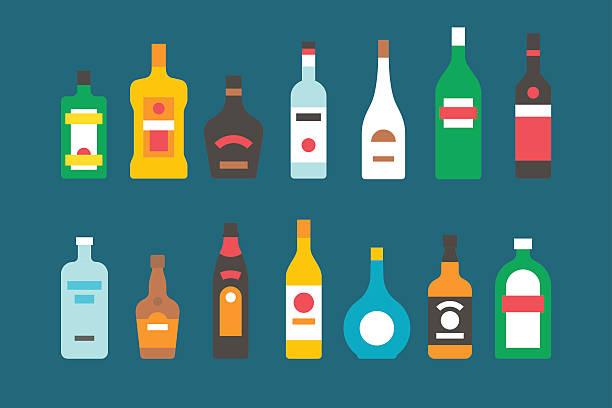フラットデザインのアルコールボトルコレクション - アルコール飲料点のイラスト素材/クリップアート素材/マンガ素材/アイコン素材
