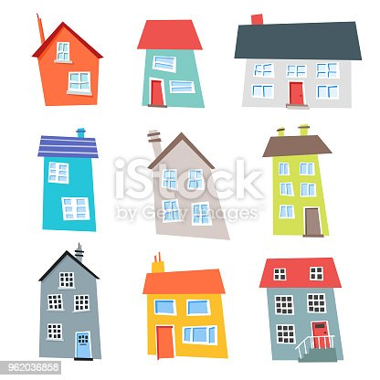 Flat design and colorful houses collection