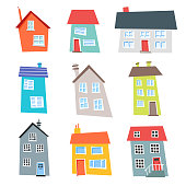 Vector illustration of a set of colorful and flat designed houses
