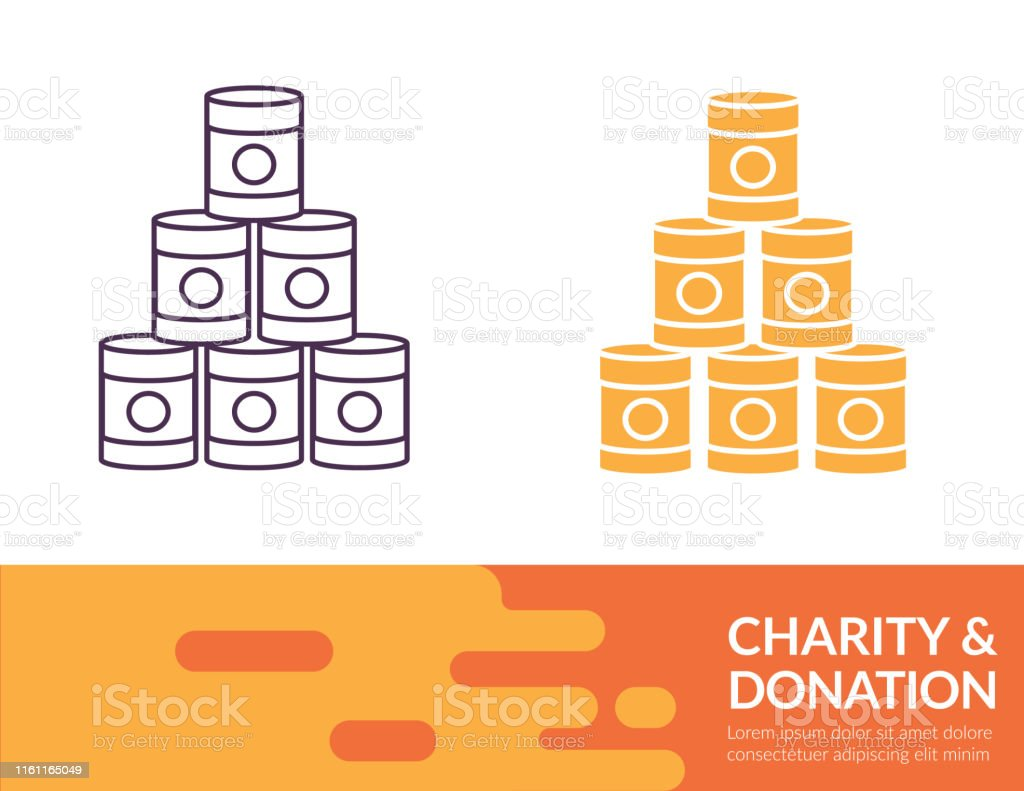 Flat Design And Thin Line Illustration Charity Icon Charity & Donation icon in thin line and flat design style with a trendy banner at the bottom. Banner - Sign stock vector