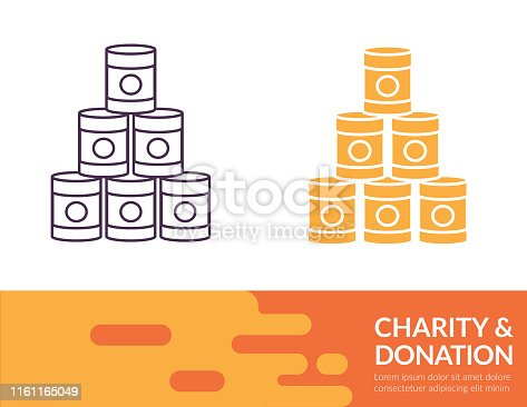 Charity & Donation icon in thin line and flat design style with a trendy banner at the bottom.