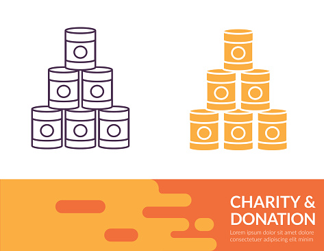 Flat Design And Thin Line Illustration Charity Icon