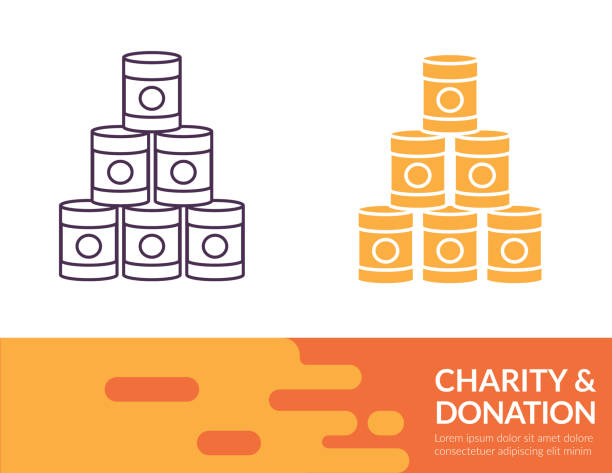 Flat Design And Thin Line Illustration Charity Icon Charity & Donation icon in thin line and flat design style with a trendy banner at the bottom. food drive stock illustrations