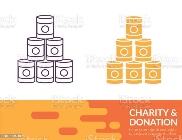 Flat Design And Thin Line Illustration Charity Icon Stock Illustration - Download Image Now