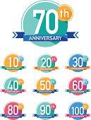 Flat design anniversary emblems set