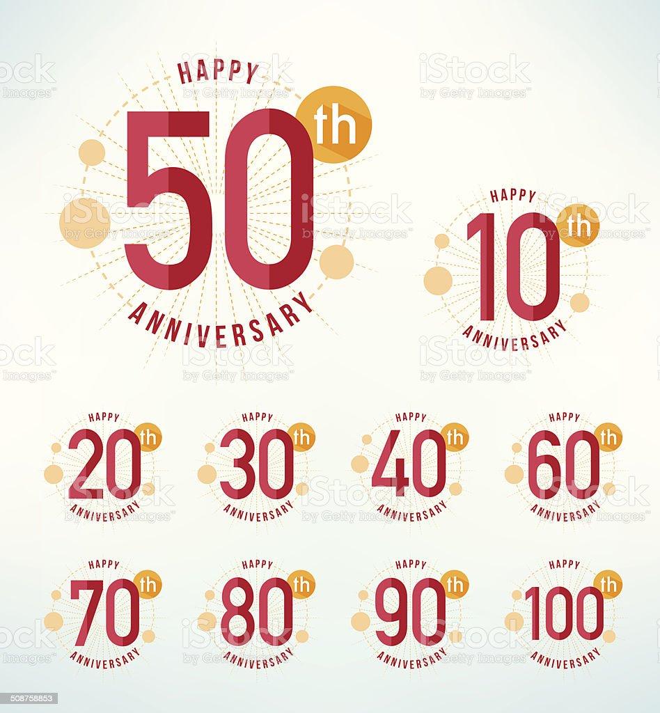 Flat design emblemi anniversario. - illustrazione arte vettoriale