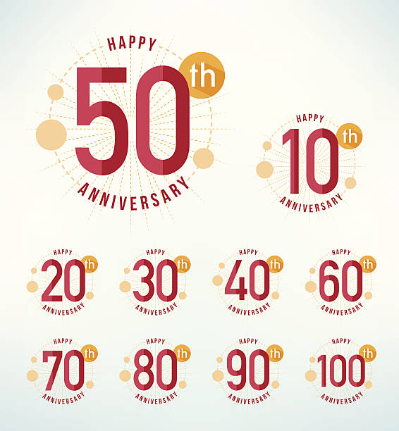 Flat design anniversary emblems. vector art illustration