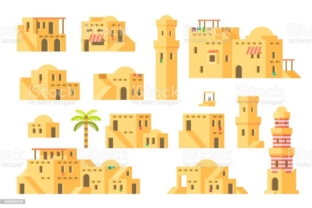 Flat design arab mud houses vector art illustration