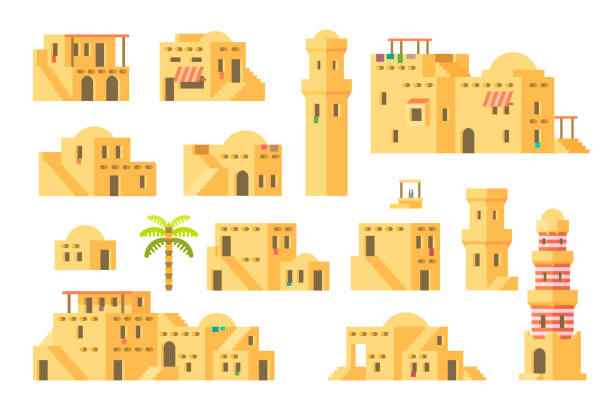 flat design arab mud houses - arab stock illustrations
