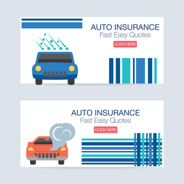 Flat design Auto Insurance Icon Banner Auto Insurance icon banner in flat design style. Bright and colorful. hailing a ride stock illustrations