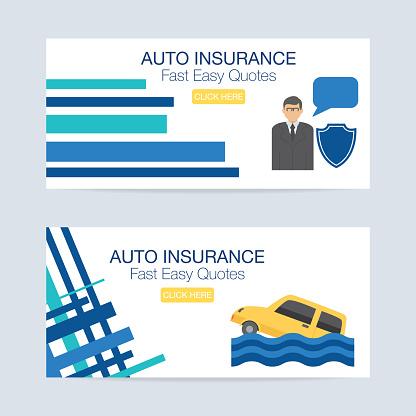 Flat design Auto Insurance Icon Banner