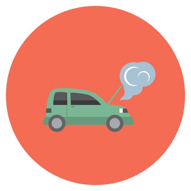 flat design auto insurance icons vector art illustration