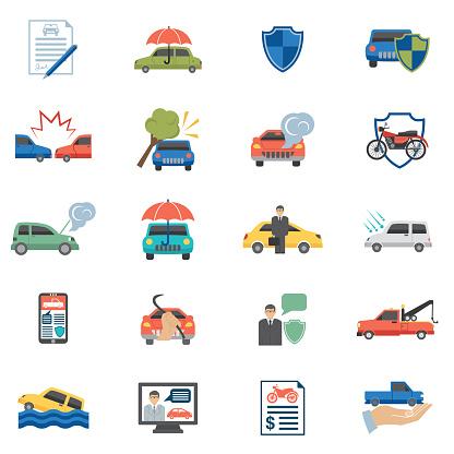 Flat design Auto Insurance Icons