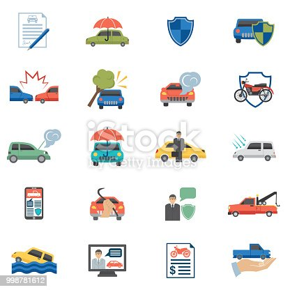 Cute Auto Insurance icons in flat design style. Bright and colorful.