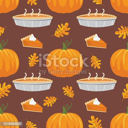 Cute seamless fall pattern in flat design style. Autumn colors. Pumpkin Pie