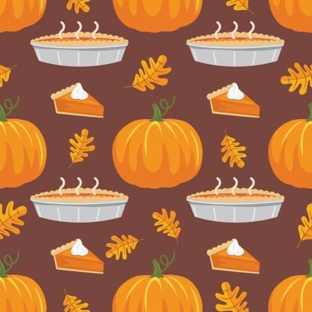 平面設計秋季無縫圖案 - pumpkin pie 幅插畫檔、美工圖案、卡通及圖標