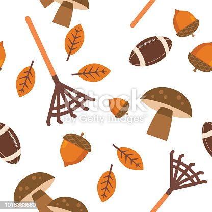 Cute seamless fall pattern in flat design style. Autumn colors. Rake and acorns