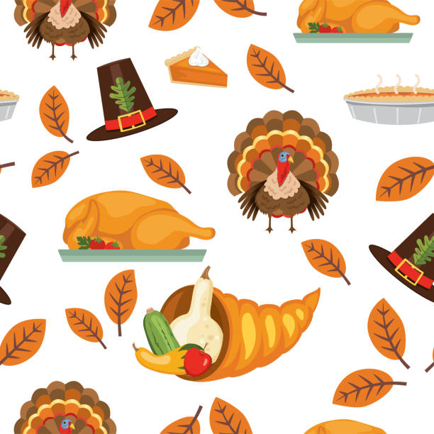 flat design autumn seamless pattern - thanksgiving turkey stock illustrations