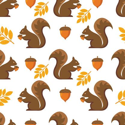 Flat Design Autumn Seamless Pattern