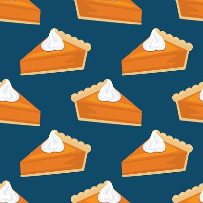 Flat Design Autumn Seamless Pumpkin Pie Pattern