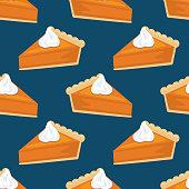 istock Flat Design Autumn Seamless Pumpkin Pie Pattern 1176763809