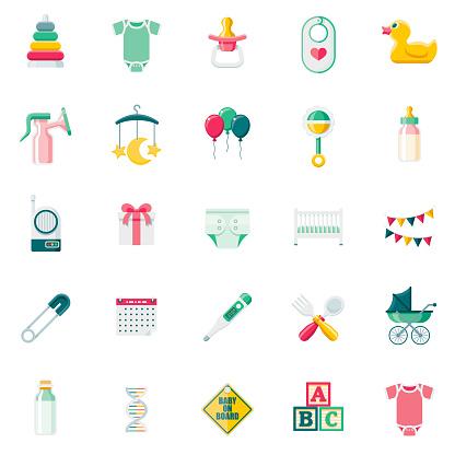 Flat Design Baby Icon Set