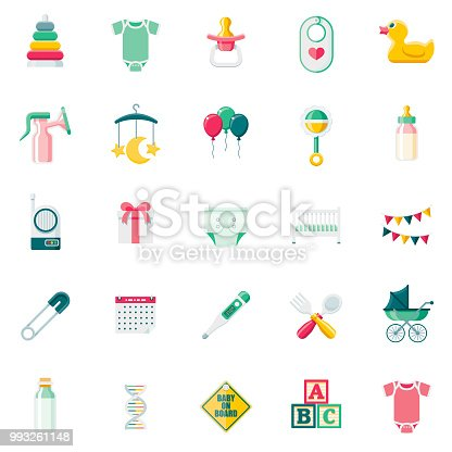A set of 25 baby flat design icons on a transparent background. File is built in the CMYK color space for optimal printing. Color swatches are Global for quick and easy color changes.