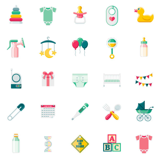 Flat Design Baby Icon Set A set of 25 baby flat design icons on a transparent background. File is built in the CMYK color space for optimal printing. Color swatches are Global for quick and easy color changes. infant bodysuit stock illustrations