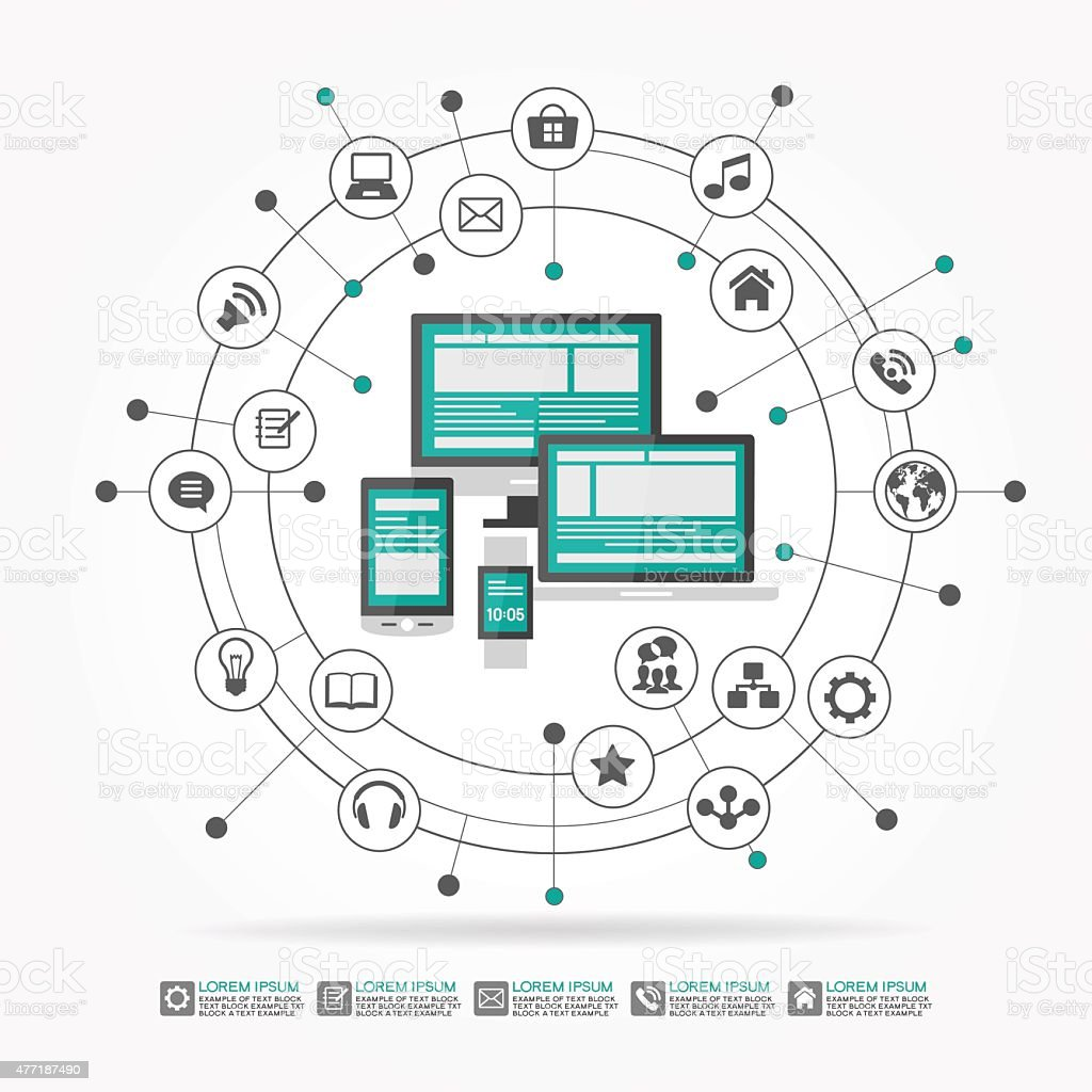 flat design background network connection stock vector art more Small Business Network Design Diagram flat design background network connection illustration