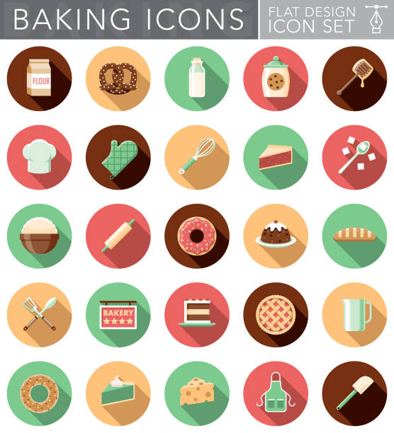 flat design baking icon set with side shadow - mixing bowl stock illustrations, clip art, cartoons, & icons