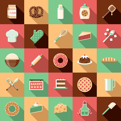 Flat Design Baking Icon Set with Side Shadow