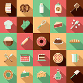 A set of flat design styled baking and bakery icons with a long side shadow. Color swatches are global so it's easy to edit and change the colors.