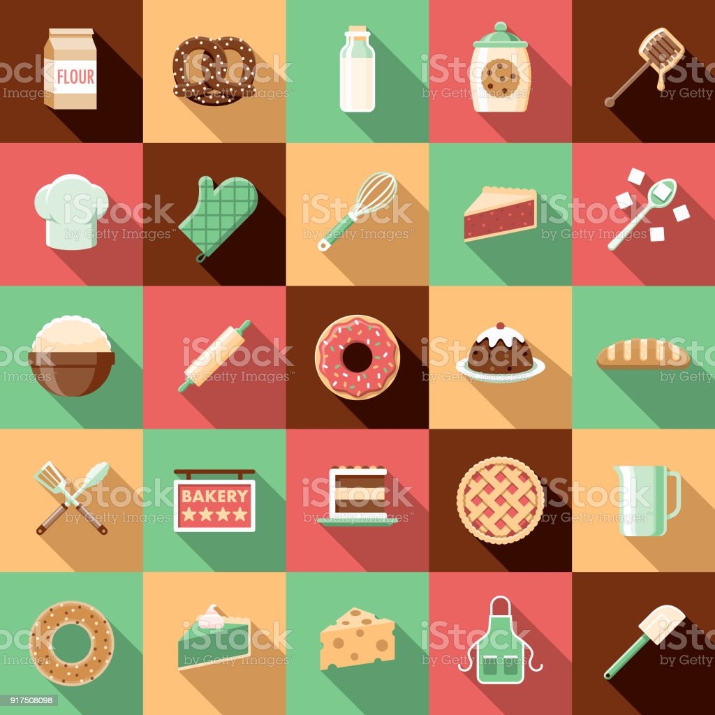 Flat Design Baking Icon Set with Side Shadow vector art illustration