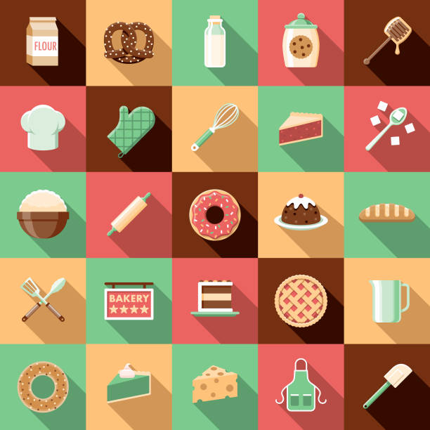Flat Design Baking Icon Set with Side Shadow A set of flat design styled baking and bakery icons with a long side shadow. Color swatches are global so it's easy to edit and change the colors. rolling pin stock illustrations