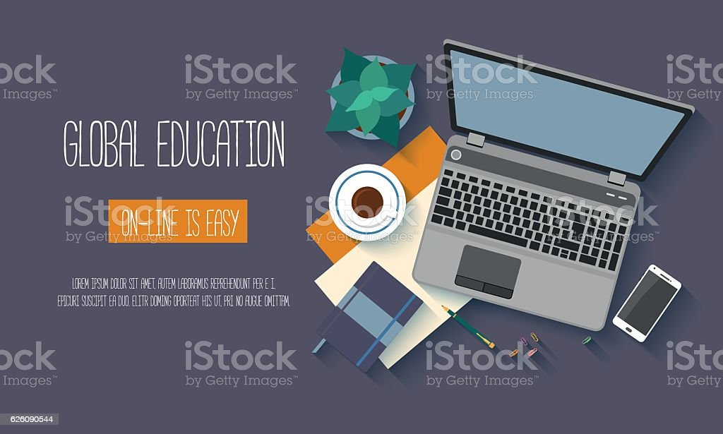 Flat design baners for online education vector art illustration