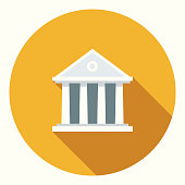 istock Flat Design Banking and Finance Bank Icon with Side Shadow 866779562