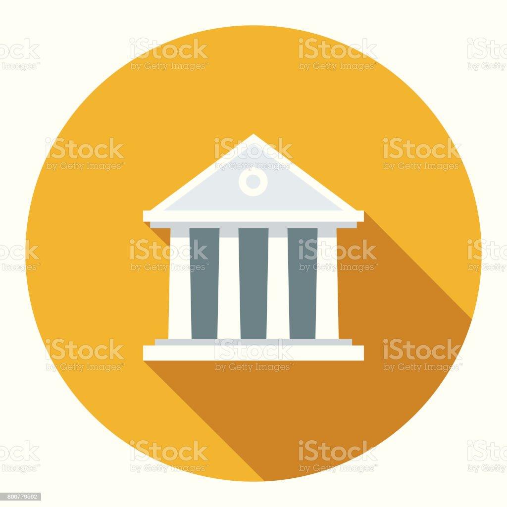 Design plano bancário e Finanças banco ícone com sombra do lado - ilustração de arte em vetor