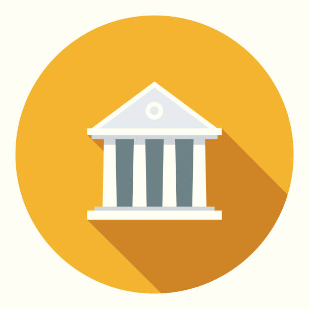 flat design banking and finance bank icon with side shadow - bank stock illustrations