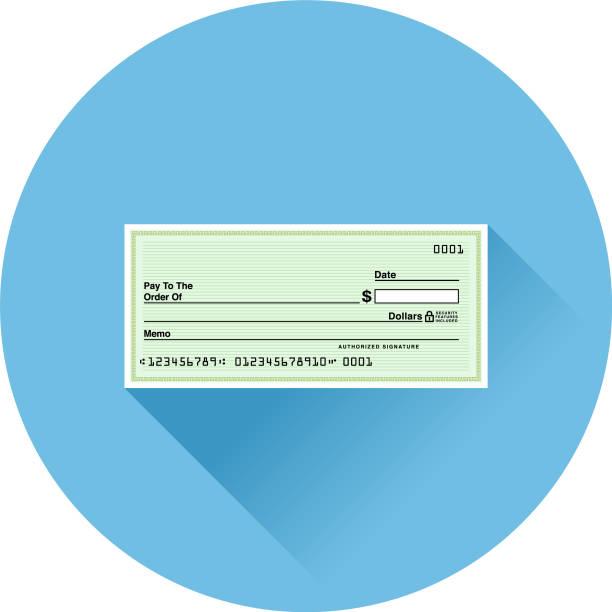 Düz tasarım bankacılık ve Finans simgesi kontrol vektör sanat illüstrasyonu